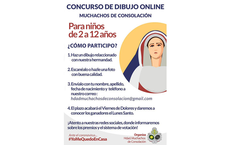 La hermandad de Muchachos de Consolación organiza un concurso de dibujo «online» para los más pequeños