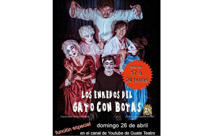 Guate Teatro ofrece su obra «Los enredos del gato con botas» este domingo en Youtube