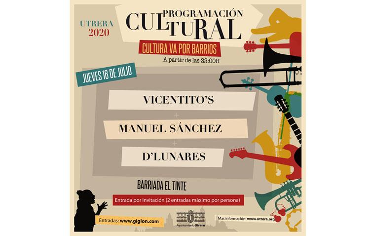 Triple concierto en la barriada El Tinte dentro del ciclo municipal «Cultura va por barrios»