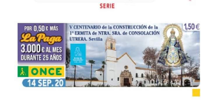 Así será el cupón que la ONCE dedicará al santuario de Consolación el 14 de septiembre