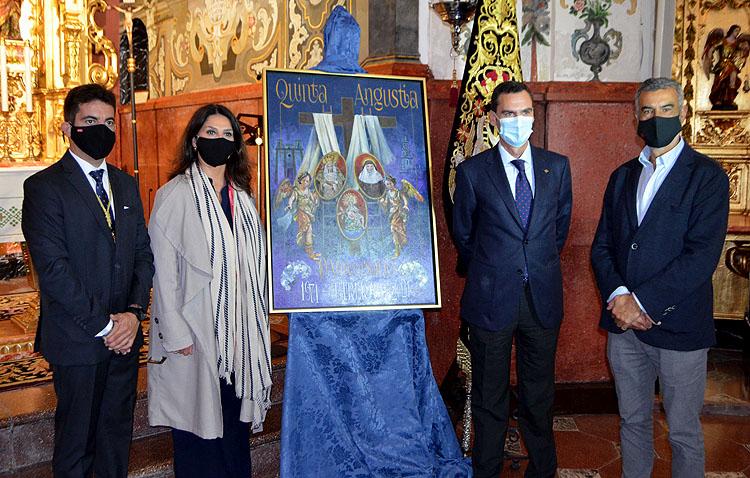 El escudo de la Quinta Angustia, protagonista del cartel del cincuentenario de la hermandad