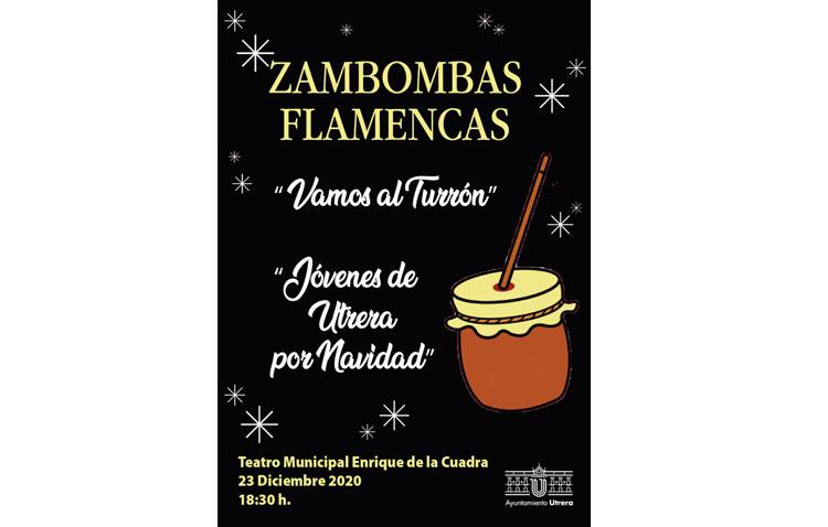 Dos zambombas flamencas en el teatro de Utrera como preludio de Nochebuena