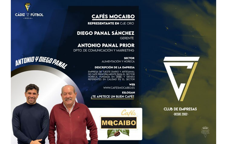 La empresa utrerana Cafés Mocaibo, proveedora oficial del Cádiz CF