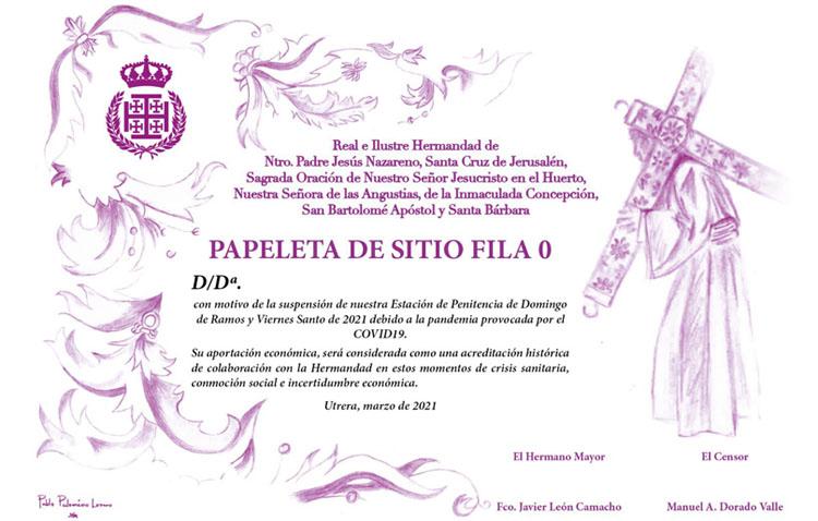 La hermandad de Jesús Nazareno reedita su papeleta de sitio simbólica con fines solidarios