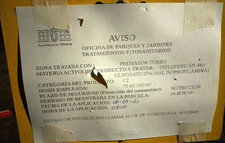 Podemos alerta del uso de glifosato en Utrera «pese a estar prohibido»