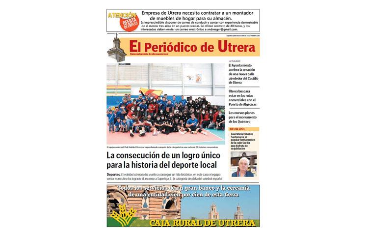 La histórica hazaña del Club Voleibol Utrera, protagonista de «El Periódico de Utrera»
