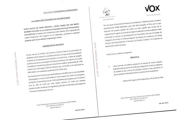 Vox lleva al Congreso de los Diputados la reclamación del quinto juzgado de Utrera