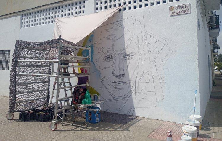 El original homenaje a Bambino en forma de grafiti va tomando forma