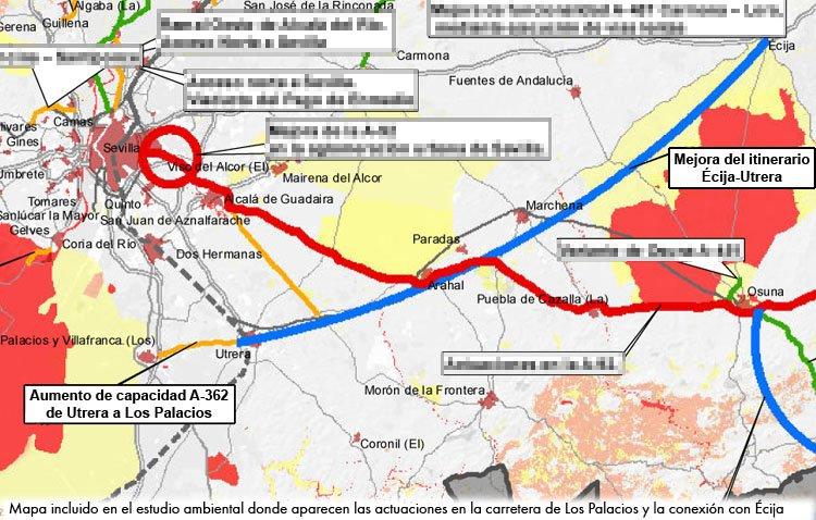 La mejora de la conexión de Utrera con Los Palacios y Écija, una «prioridad» en el nuevo plan de infraestructuras de la Junta