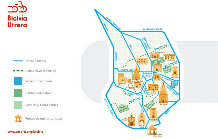 La comisión local de Patrimonio Histórico da luz verde al proyecto de creación de la nueva red de carriles bici en Utrera
