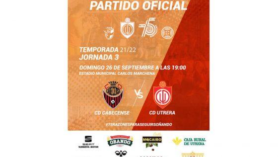 CD CABECENSE – CD UTRERA: El Utrera afronta la tercera jornada de liga