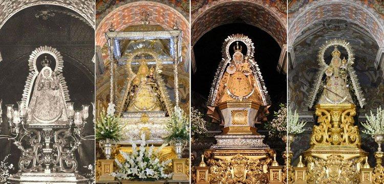 La Virgen de Consolación reestrena la peana de su camarín tras recuperarse las piezas de la mesa del altar del santuario