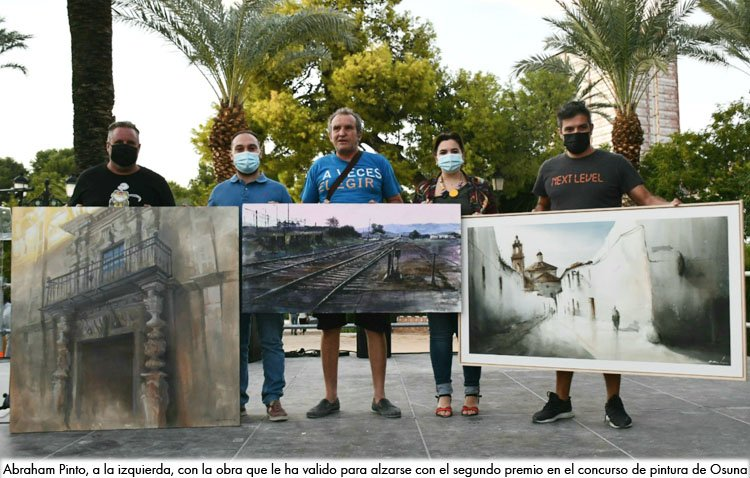 El utrerano Abraham Pinto, subcampeón de un nuevo concurso de pintura rápida