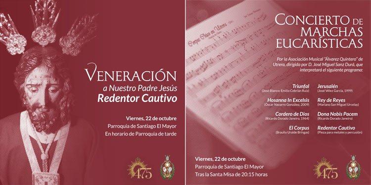 Veneración al Redentor Cautivo y concierto de marchas procesionales eucarísticas en la parroquia de Santiago
